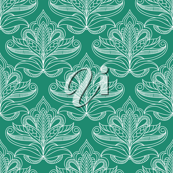 Persian foliage seamless pattern on emerald background with lush compositions of white openwork kidney shaped leaves with curly tips and traditional paisley ornamental striations for lace embellishmen