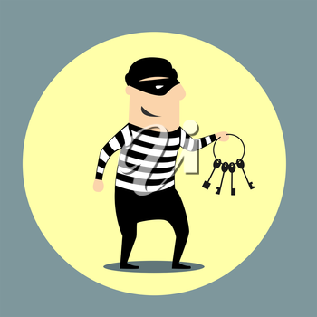 Burglar dressed in a mask and striped clothes carrying a bunch of keys inside a yellow circular icon, flat style