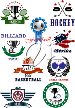 Set of sport games icons and symbols on white background emphasizing tennis, football or soccer, ice hockey, billiards, basketball, table tennis, darts, baseball and bowling