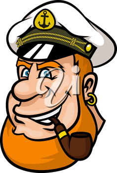 Happy cartoon ship captain or sailor character with a red beard and blue eyes wearing his cap and smoking a pipe