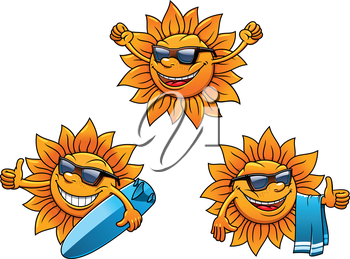 Trendy hip summer sun characters with happy faces wearing sunglasses and waving, two with surf boards