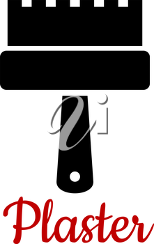 Renovation and DIY spatula icon with a black silhouette of a toothed tool for spreading and smoothing fresh plaster to create a decorative pattern