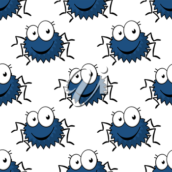 Cute cartoon spiders seamless pattern with blue fluffy bodies and googly eyes on white background for Halloween party or interior design