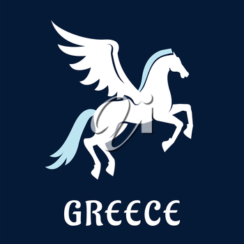 Pegasus symbol in flat style with ancient greek mythology winged white horse, pale blue mane and tail with caption Greece