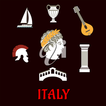 Italian culture and travel flat icons with Caesar in wreath, roman helmet, venice bridge, ancient vase, mandolin, doric column and sailboat