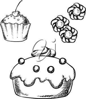 Sketch of sweet cake with glaze and cream decorations, cupcake with sprinkles and cherry on the top, sugar cookies with jam. For confectionery or pastry shop design