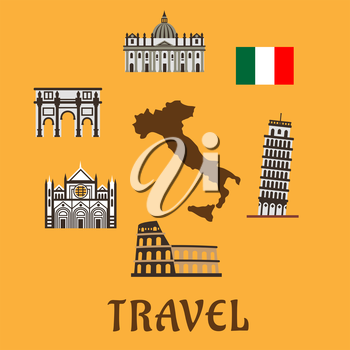 Italy flat travel symbols and icons with map silhouette surrounded by national flag, tower of Pisa, Colosseum, arch of Constantine, Sienna cathedral and st. Peter Basilica