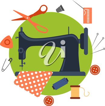 Colorful flat sewing icons surrounding a sewing machine with pin, thread, yarn, thimble, button and cloth