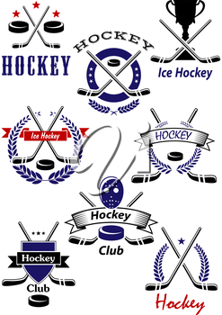 Ice hockey game and club emblems with hockey pucks, crossed sticks, trophy and goalie mask with stars, heraldic shield, wreaths and ribbon banners