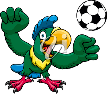 Happy bright parrot player cartoon character with soccer ball, for sports club or team mascot design