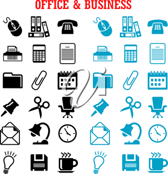Business and office flat icons with blue and black light bulb, phone, calendar, calculator, mouse, mail, folders, documents, clock, coffee, chair, shredder, scissors, lamp, pin, clip