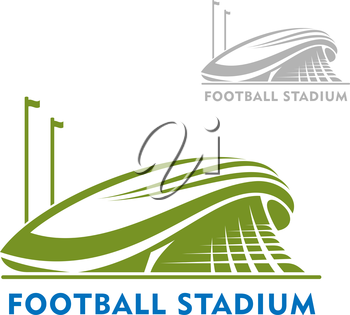 Football or soccer stadium building  green icon with flags, isolated on white. For sport theme design