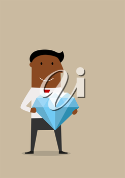 Cartoon joyful smiling african american businessman with huge diamond in hands, for wealth or success concept design
