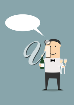 Cartoon elegant waiter with champagne and glasses on a tray with blank speech bubble above him, for restaurant design