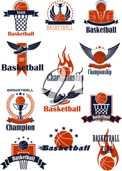 Basketball club or championship emblems and icons with balls, trophies, backboards with baskets, court and winged shoes, supplemented by wings, flames, stars, wreath and ribbon banners