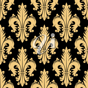 Luxury golden royal floral seamless pattern of stylized fleur-de-lis symbols on black background. May be use in interior or textile design