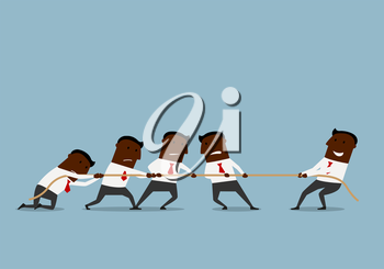 Business competition and human resources concept. Cartoon smiling businessman is easily winning a tug of war battle with a group of businessmen