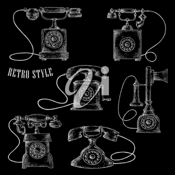 Retro telephones icons with rotary dials in chalk sketch style. Telecommunication and vintage concept usage