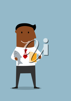 Happy friday and weekend cartoon concept with happy relaxed african american businessman which standing with light beer tankard and salted fish in hands