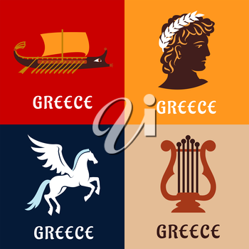Culture, history and mythology flat icons of ancient Greece with winged Pegasus, greek athlete with laurel wreath, elegant lyre and war galley