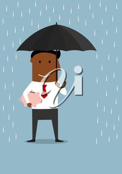 Cartoon businessman protecting piggy bank with money from the rain under umbrella. Financial crisis and savings protection usage