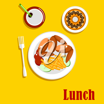 American fast food lunch menu elements with chicken wings, french fries, served on a plate with ketchup and sliced fresh cucumber vegetable, chocolate frosted doughnut and sweet soda with drinking str
