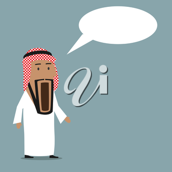 Cartoon shocked and surprised arab businessman standing with wide open mouth and speech bubble above head. Emotion expression, wow, omg or surprise concept