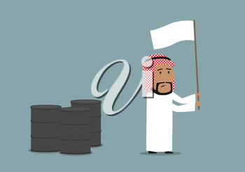 Business concept of oil price downturn, energy and financial crisis. Cartoon arabian businessman waving a white flag in front of oil or fuel tanks
