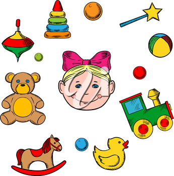 Childish toys and little girl icons with silhouette of a small girl head surrounded by her toys as bear, horse, duck, rattle, train, ball, pyramid and whirligig