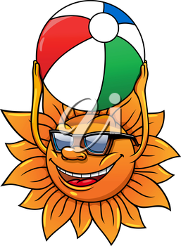 Funny cartoon summer sun in sunglasses and with ball in hands, for leisure or travel concept design