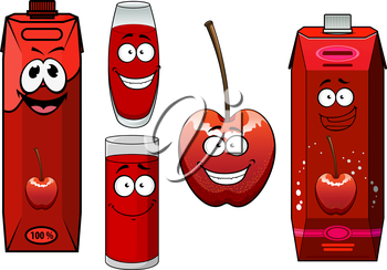 Happy sweet cherry juice cartoon characters with fresh cherry fruit, colorful juice packs and glasses
