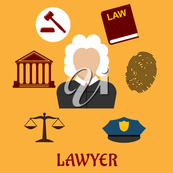Law and justice flat icons surrounding a lawyer with a courthouse, law book, fingerprint, police cap, scales and gavel on yellow. Lawyer profession concept