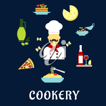 Italian cuisine flat icons with moustached chef in white uniform and hat among pizza, pasta and lasagna with vegetables, cheese, olive oil, red wine and farfalle pasta bow ties