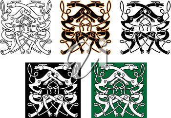 Fighting wolves celtic patterns with mythical animals and decorative knot elements for tattoo or medieval themes design