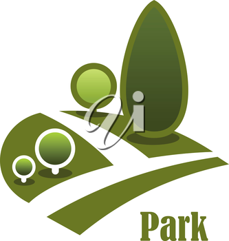 Summer park landscape icon with secluded walkway among green lawns with trees and bushes isolated on white background with text Park