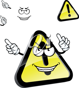 Hazard warning attention sign cartoon character with exclamation mark on yellow triangle with black border, showing finger away. For caution or danger sign design