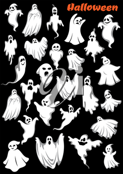 White flying monsters, ghouls and ghosts. Isolated on background. for Halloween holiday theme