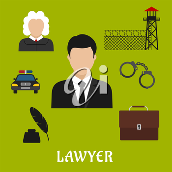 Lawyer profession flat icons with man in black suit with briefcase, police car, judge, handcuff, ink with feather pen, prison watchtower with wire mesh wall