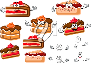Sweet cartoon chocolate cakes with cream and ganache frosting and berry pies with fruity sauce and strawberry fruits, for pastry shop or cafe design