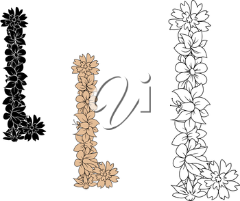 Retro capital letter L with blooming flowers in outline style, including black and brown color variations