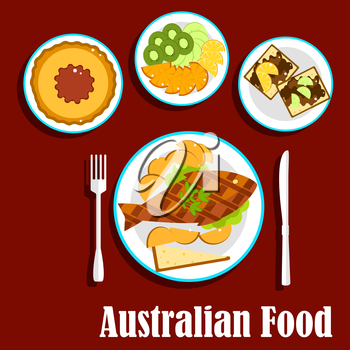 Australian cuisine dishes with fish and chips, meat pie with tomato sauce, fruit salad with slices of apple, orange, kiwi and lemon fruits, toasts with brown australian food pasta