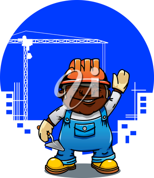 Friendly cartoon african american bricklayer or builder in orange hard hat standing with trowel. Construction industry  concept