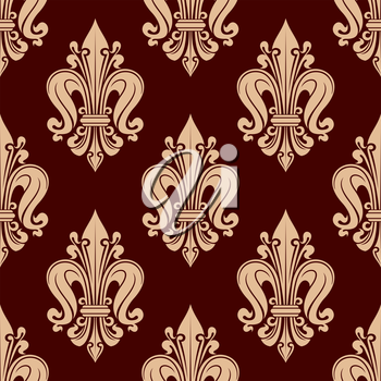 French fleur-de-lis seamless pattern with floral motif of stylized beige flowers with curled petals over red background. Wallpaper and interior usage