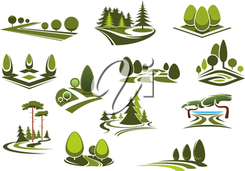 Peaceful nature landscapes icons with green walking alleys, decorative trees and bushes, beautiful lake and grass lawns of city public parks, gardens or forests