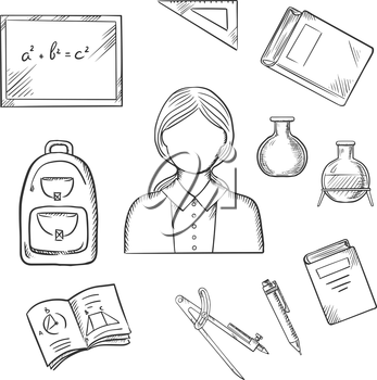 Teacher profession icons with woman encircled by blackboard with chalk formula, books, pen, laboratory flasks, school bag, exercise book with geometric figures, triangle ruler. Sketch style vector