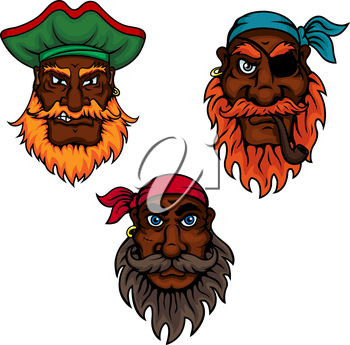 Cartoon dark skinned bearded pirates captain and sailors with eye patch, smoking pipe, earrings, bandannas and hat. Children book, piracy or adventure themes usage