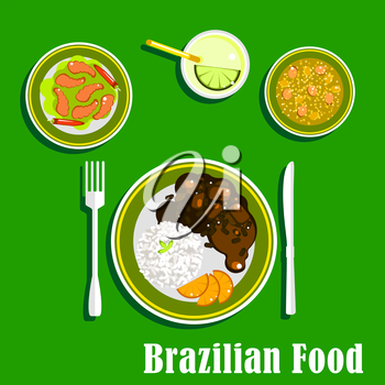 National cuisine of Brazil with black bean and meat stew, served with sliced orange and rice, spicy shrimps with chilli peppers, vegetable soup and lime cocktail with ice. Flat style icons