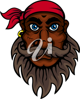 Cartoon old pirate wearing red bandanna with lush beard, mustache and scar on cheek. Marine sailor, piracy adventure or children book design usage