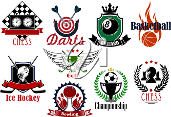 Football or soccer, basketball, ice hockey, golf, darts, bowling, chess and billiards sporting items, trophies and heraldic symbols. For sports games and teams design