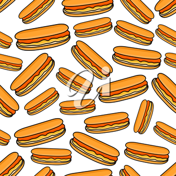 Cartoon fast food background for takeaway menu restaurant design with seamless pattern of colorful hot dogs with smoked sausages and sweet french mustard sauce